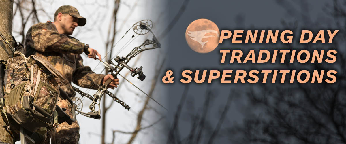 Archery Season Traditions and Superstitions, Bowhunter in treestand, bowhunting traditions and superstitions